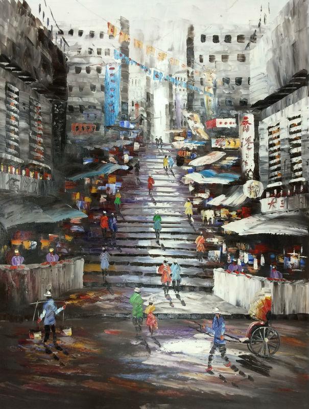 Handmålad oljemålning på Canvas Cityscape Hong Kong Trams Street - Heminredning