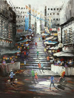 Hand Painted Oil Painting On Canvas Cityscape Hong Kong Trams Street Knife Canvas Painting Wall Art