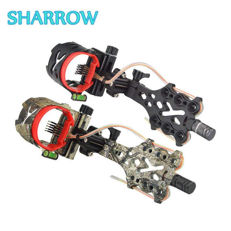 1Pc Compound Bow Sight 5 Pin 019 Long Pole LED Micro Adjustable Bow Sights For Outdoor