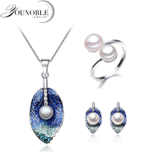 Beautiful Real Natural Pearl Jewelry Set Women,Wedding Freshwater Pearl Necklace Earring Set Anniversary Gift недорого