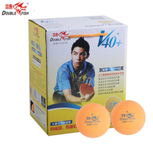 лучшая цена Original 100balls DOUBLE FISH V40+ One Star Table Tennis Balls  ABS polymer Ping pong Ball ITTF Approved Training Yellow Ball
