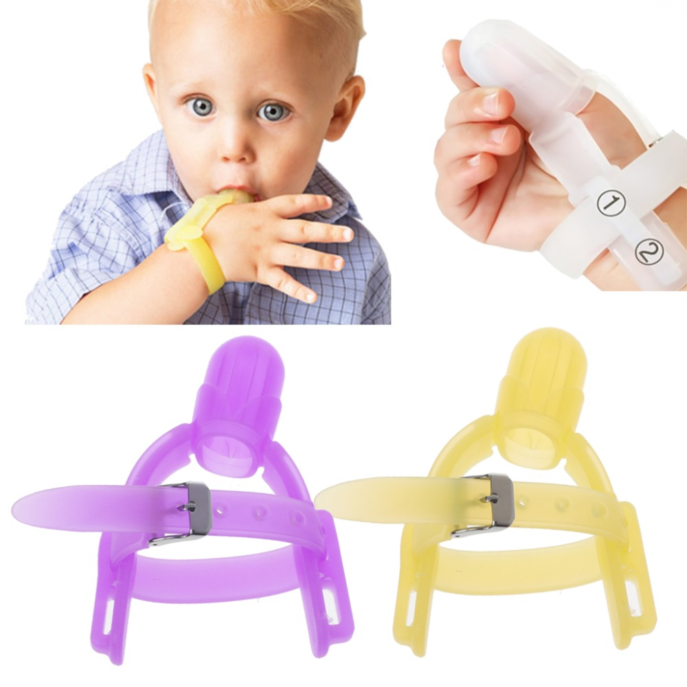 2 Colors Nontoxic Silicone Baby Kids Child Finger Guard Stop Thumb Sucking Wrist Band