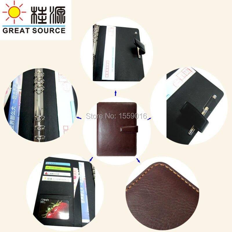А5 записная книжка календарь прозрачная ручка сумка кожаный чехол записная книжка wtih календарь планировщик Органайзер