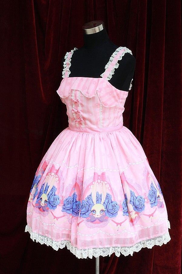 Doux Lolita robes lapin impression robe JSK Halloween style japonais mignon lapin robes Lolita Alice Costume