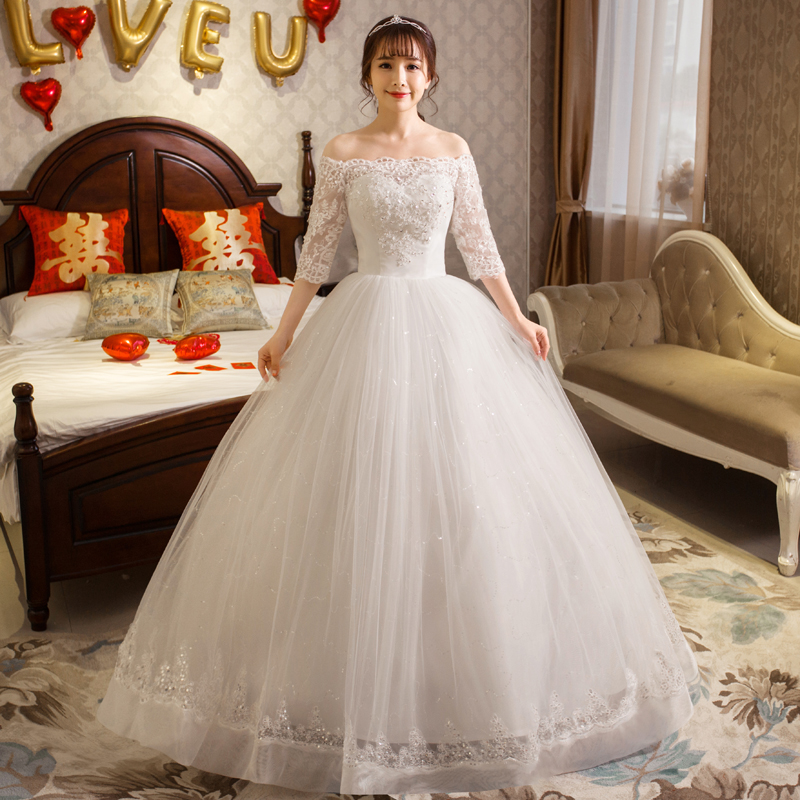 Wedding Dresses Ball Gowns New Shoulders Half Sleeves Embroidery Lace Up Bride Wedding Dress Princess Dresses