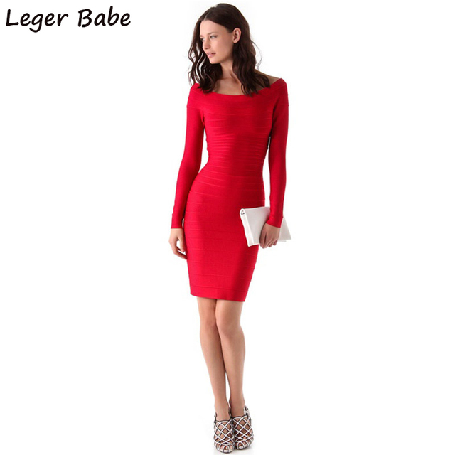 FH61 Leger Babe 2019 Red Long Sleeve Bandage Dresses Women Cocktail Party  Bodycon Boat Neck Celebrity Off the Shoulder Dress 7283f0835329