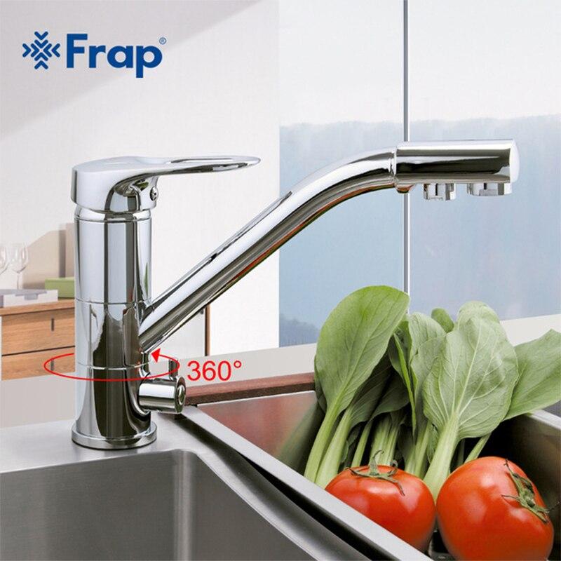 Frap Новый Кухня кран на бортике смеситель 360 градусов вращения с очистки воды Особенности torneira monocom f4304