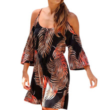 afad83dc90 feitong Floral Print Bohemian Summer Off Shoulder Sexy Vintage Dresses For  Women