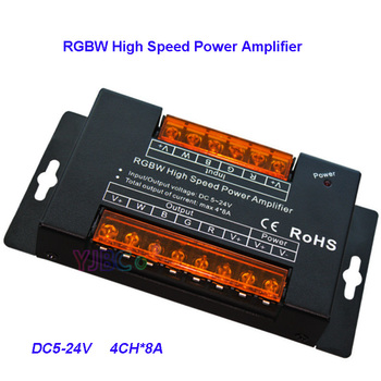 цена на DC5V 12V 24V 8A*4 channel  Aluminum led RGBW high speed power amplifier pwm dimming signal RGBW Power Repeater light controller