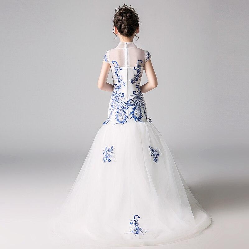 Broderie sirène fleur fille robes de mariage nouvelle mode Style chinois princesse robe d'anniversaire col montant enfants robe formelle - 5
