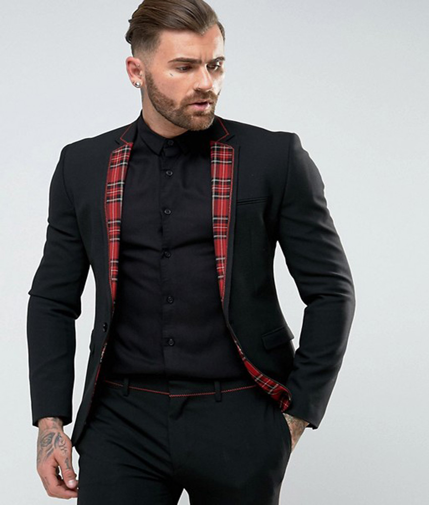 Skinny Suit Black Man Suit With Tartan Trim 2018 England ...