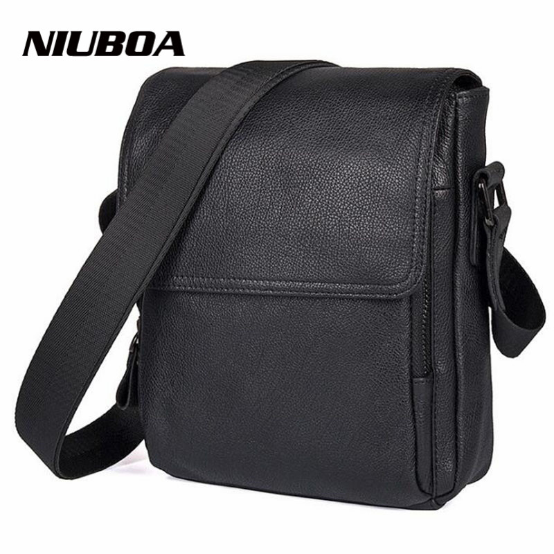NIUBOA 100 Genuine Leather Men Messenger Bag Top Quality Casual Crossbody Bag Casual Simple Design Black