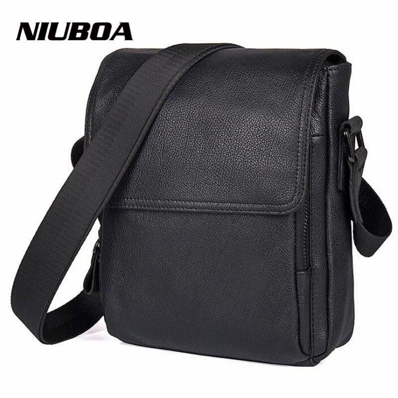 NIUBOA 100% Genuine Leather Men Messenger Bag Top Quality Casual Crossbody Bag Casual Simple Design Black Bag Gift Shoulder Bags