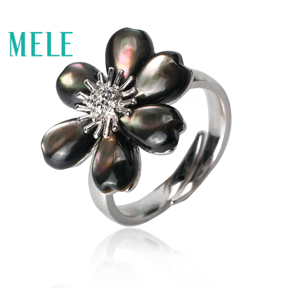 New arrival black shell 925 sterling silver rings for women,fashion flower with exquisite processing charm jewelryNew arrival black shell 925 sterling silver rings for women,fashion flower with exquisite processing charm jewelry