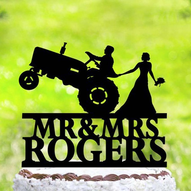 Personalized Tractor Wedding Cake TopperFarmer Car Rustic TopperCustomized Party Unique Topper