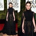 2016 73th Golden Globe Awards celebridade vestidos Emilia Clarke laço preto elegante vestido de noite árabe estilo vestido Formal