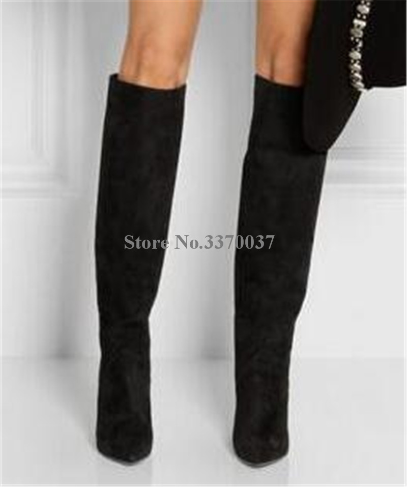 Frauen Mode Design Spitz Wildleder Leder Knie Hohe Keil Stiefel Winter Charming Super High Heel Keil Lange Stiefel - 6
