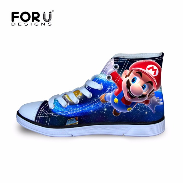 FORUDESIGNS Anime Games Blue Super Mario Walking Shoes for Kids Boys Printing Sneakers Children High Top Canvas Shoes Cartoon