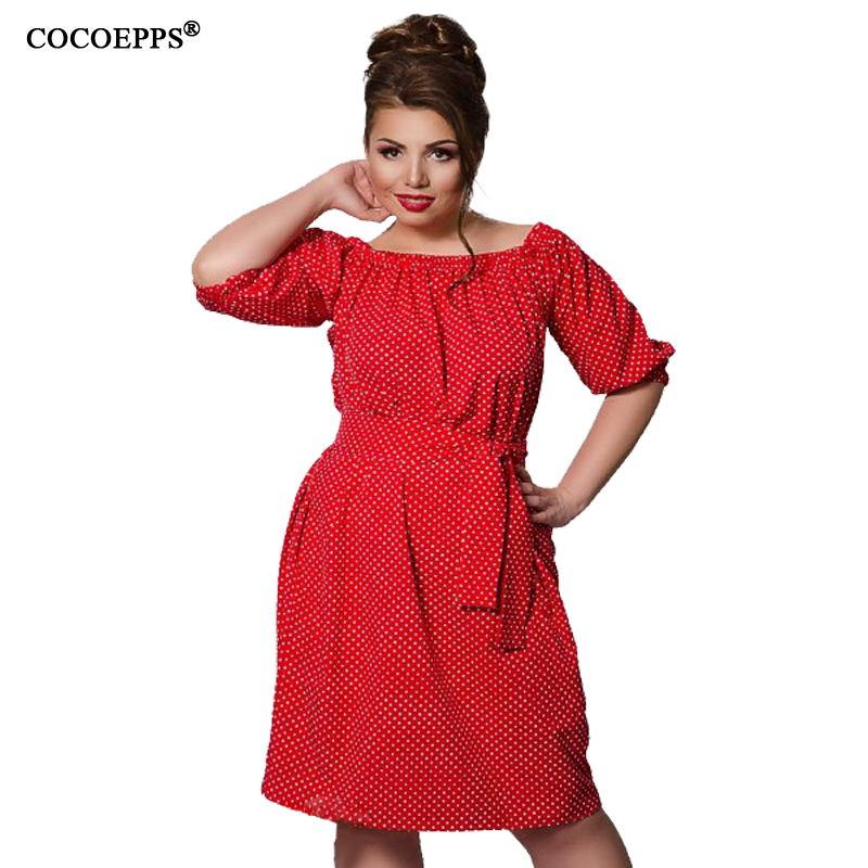 New Loose Boho Plus Size Dresses Women Big Large Size Polka Dot Casual  Dress Clothing 2018 5xl 6xl Sashes Vestidos Wear to Work