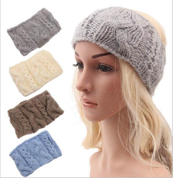 Mujeres adultas trenzada invierno de ganchillo de lana de las vendas kintted diadema cabeza headwrap cintas