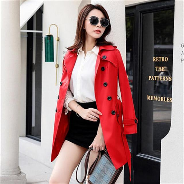 397c2c30a651b Double-breasted trench coat feminino Women Plus size XS-6XL Autumn Winter Women  Long Coat Female New Loose Overcoat women