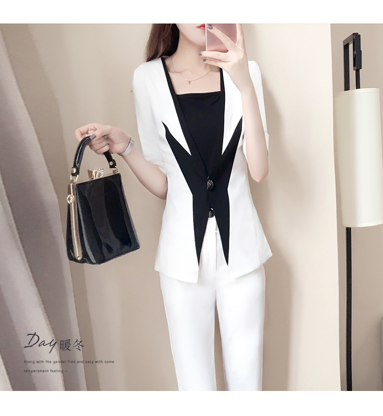 New women's spring fashion small suit two-piece spring black and white stitching suit suit female 4