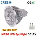 1x High Power Dimmalbe GU5.3 MR16 9W 12W 15W LED Light GU 5.3 LED bulb LED lamp 12V  LED COB Spot down light lamp bulb