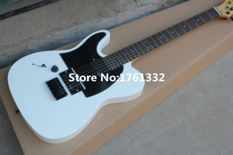 factory custom white string thru body left handed electric guitar with locking tuners black. Black Bedroom Furniture Sets. Home Design Ideas