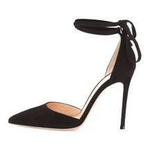 Amourplato Women's Suede Pointed-Toe Ankle-Wrap Pump Stiletto Heel Low-Cut  d'Orsay Silhouette Self-tie Ankle Strap Shoes Black