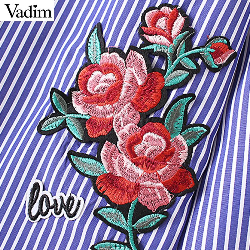 HTB18UEcNFXXXXa8XXXXq6xXFXXX0 - Women floral dragonfly embroidery full cotton striped blouse long shirt