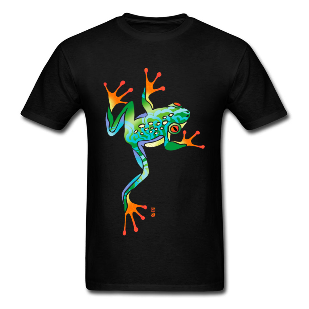 100% Cotton Man T Shirt Funny T-shirt RAINBOW TREE <font><b>FROG</b></font> Short Sleeve Tops & Tees 2018 Fashion Casual <font><b>TShirt</b></font> Tropical Style image