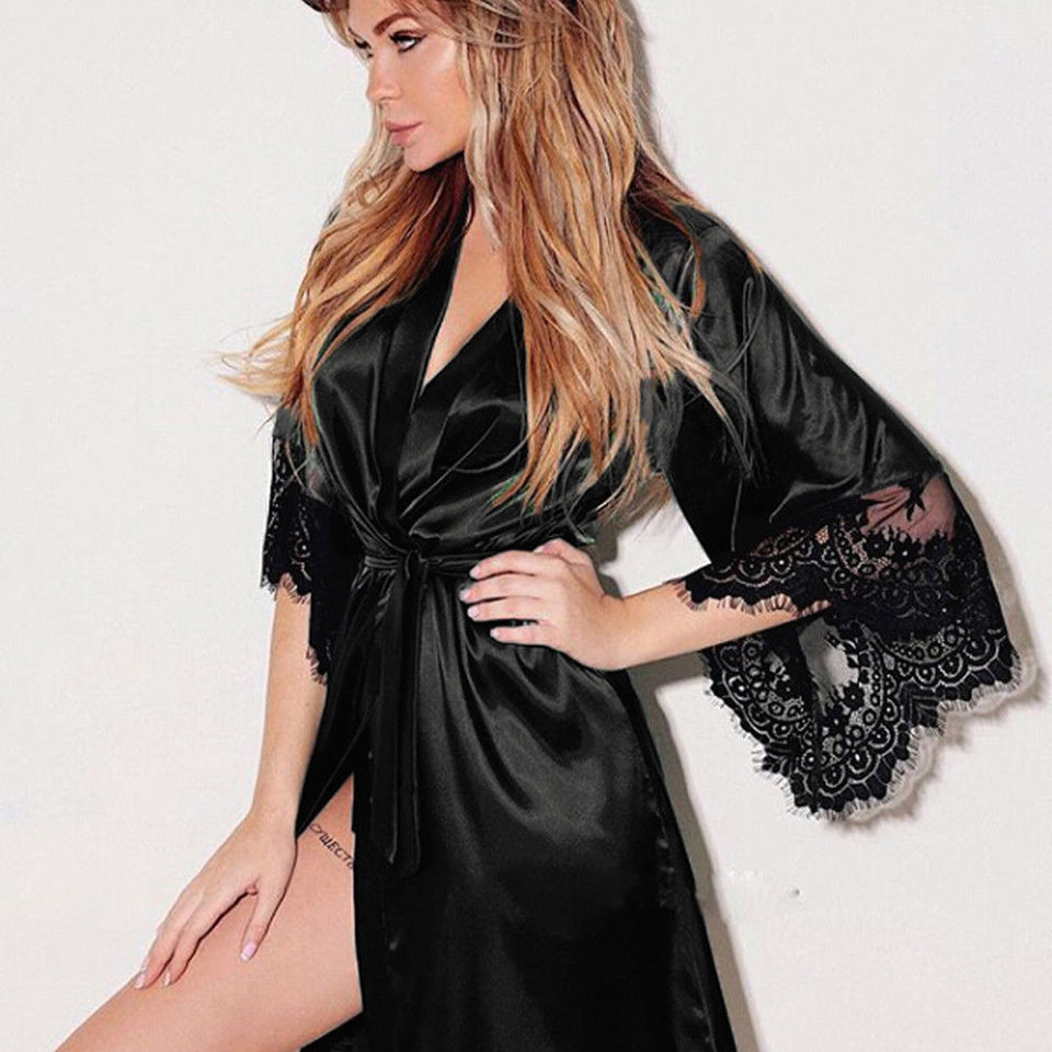 Nightgowns Robe for Women Comfort Lounge Night Wear Pajamas with Lace Cuffs