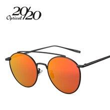20/20 Brand New Fashion Women Round Sunglasses Classic Brand Designer Twin-Beams Glasses Coating Pink Flat Panel Lens UV400