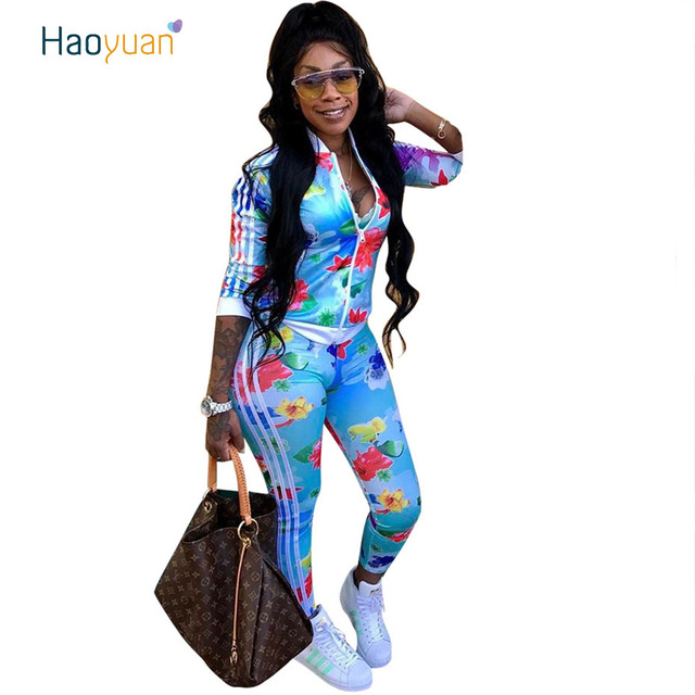 0dd87163fc1 HAOYUAN Plus Size Casual 2 Piece Set Women Autumn New Outfits Zip Top+Bodycon  Pants Sweatsuits Two Piece Tracksuit Matching Sets