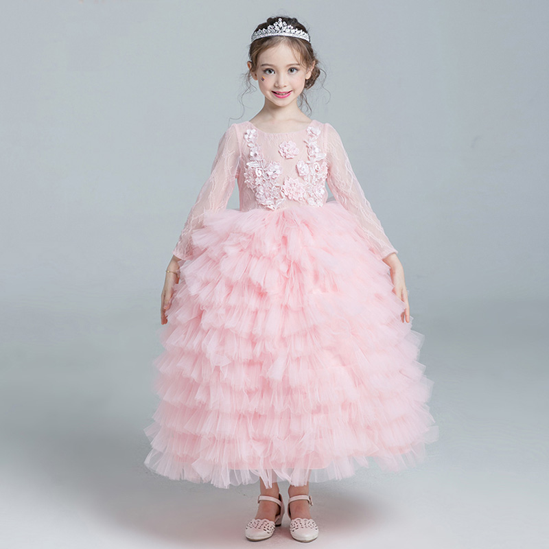 First Communion Gown Girl's Layered Dress O-neck Floral Cute Girls Pink Dress Long Sleeve Princess Kids Evening Dresses JF445