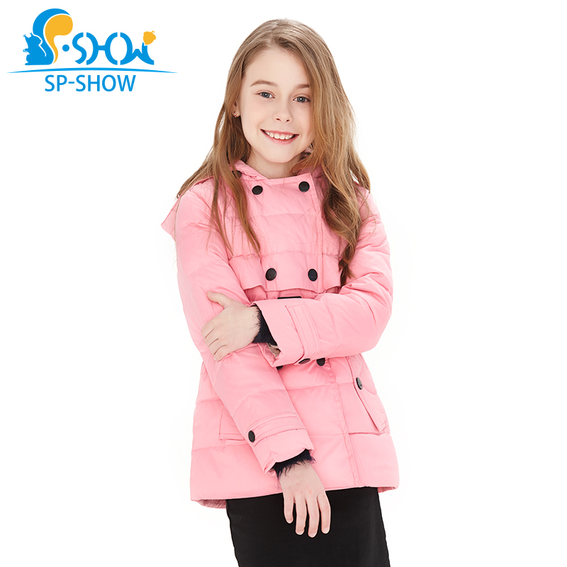 SP-SHO Spring fall winter Warm Kids Down Coats Girl Parkas For Children Girls Winter Coats For 3-10 Age Jackets& Parkas 2122