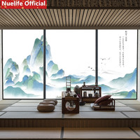 60x90cm Chinese landscape painting patterns opaque frosted glass film office living room kitchen bathroom door window film