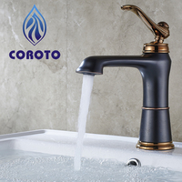 COROTO 2017 Bathroom Antique Tap Black And Gold Antique Bathroom Tap Basin Faucets Single Handle Mixer Basin Water Faucets