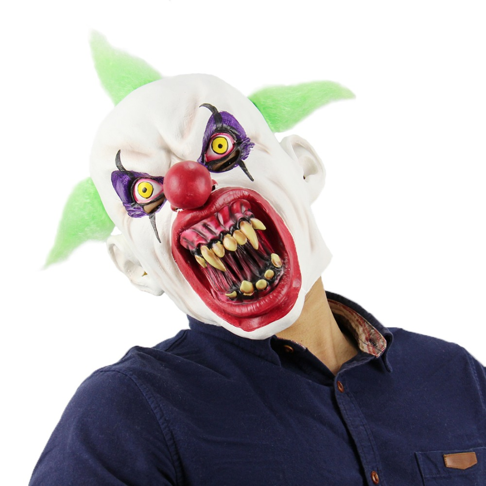 Deluxe Horrible Scary Clown Mask Adult Men Latex Green Hair