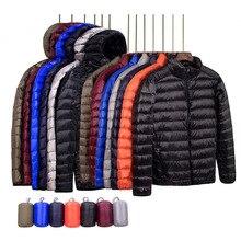 Бренд, Осень-зима, легкий пуховик, мужская мода, с капюшоном, короткий, большой, ультра-тонкий светильник, молодежное, тонкое пальто, пуховики