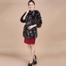 2016 New Winter Low Price Female Natural Genuine Silver Fox Fur Coat for Women Vests Real Fur Jacket Fashion Outerwear Free Ship