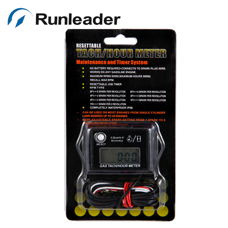 Runleader Waterproof Tach Hour Meter for Pit Bike Motorbike quad Bike Jet Ski Go Kart Dirt Bike