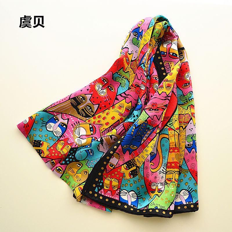 Colorful Cats Long Scarf Women's Sunscreen Soft Thin Mulberry Natural Silk Scarf Animal Printed Scarves Wrap Shawl Gift For Lady