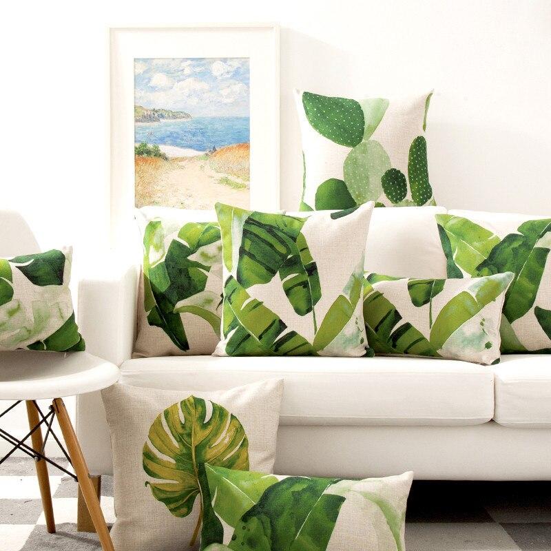Decorative throw pillows case cover nordic style green plant cotton linen cushion cover for sofa home decor funda cojines 45x45
