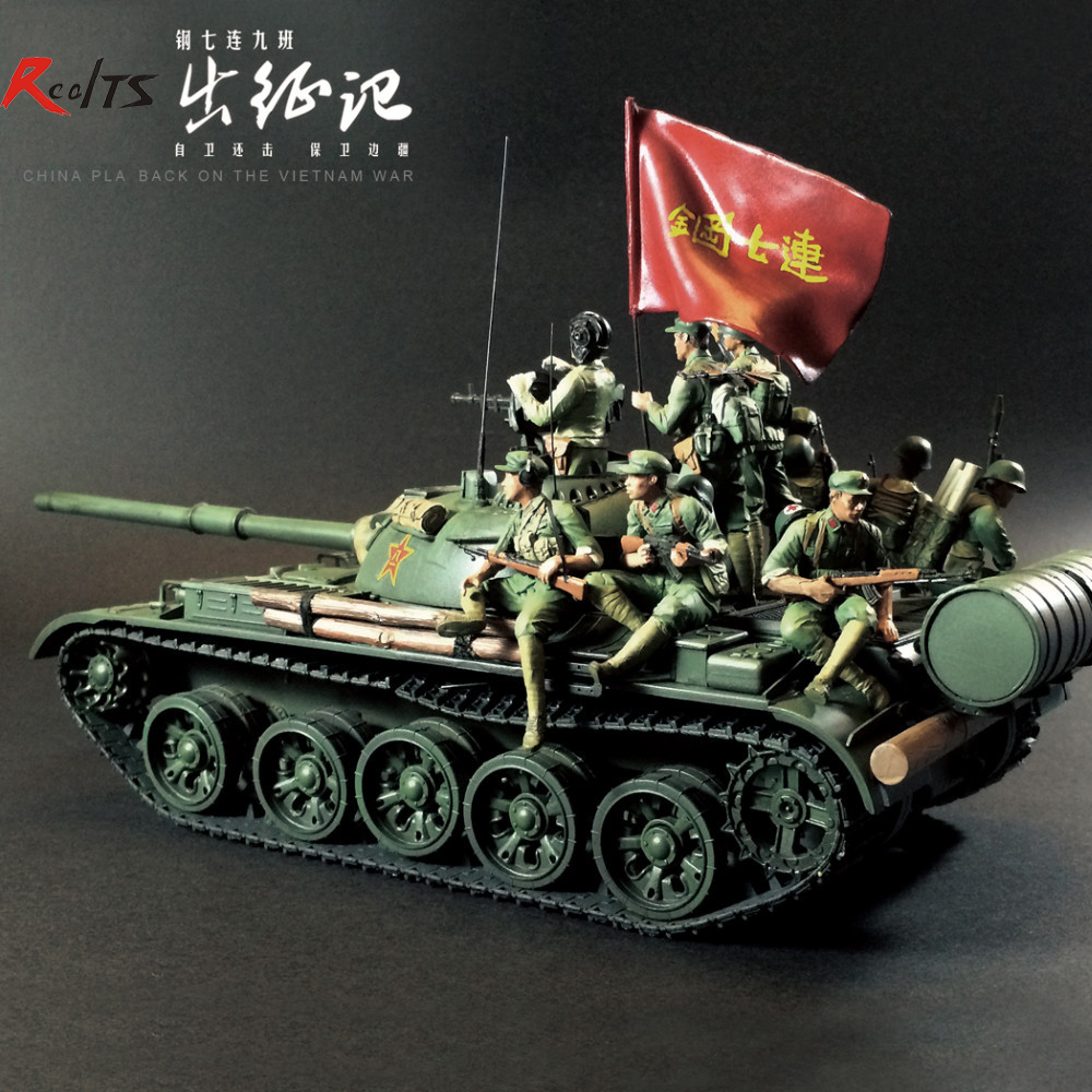 Ushtari i Realin rrëshirë 1/35 ekuipazhit kineze tank-T-59 lufton në luftën e Vietnamit të kundërsulmit vetëmbrojtës 9 shifra