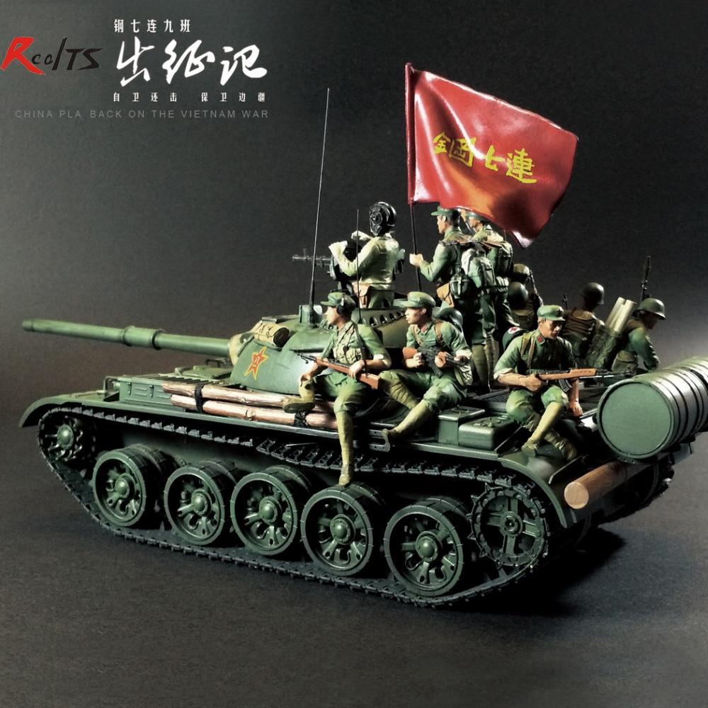 Prajurit Resin RealTS 1/35 T-59 tank Cina berkelahi dalam perang balasan 9 angka di Vietnam