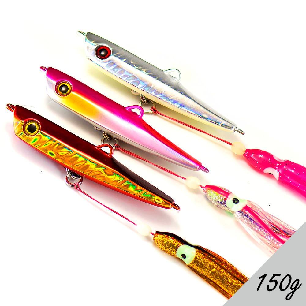 5pcs jigging spoon fishing hook with PE line saltwater jig assist SU