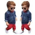 2016 Новых мальчиков с длинным рукавом костюм мягкая джинсовая полная длина рукава рубашка топ + красный полная длина набор детская одежда набор ропа де bebe