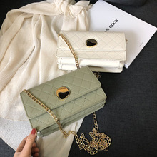 2019 PU Leather Women Messenger Bag Plaid Ladies Crossbody Bag Chain Trendy Candy Color Small Flap Shopping Handbag A5