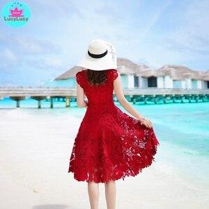 Image 3 - 2019 yaz yeni ağır iş dantel ajur retro kırmızı elbise bel elbise diz boyu tankı dantel kolsuz
